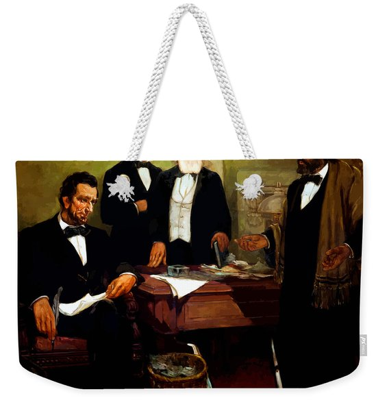 Frederick Douglass Appealing To President Lincoln Weekender Tote Bag
