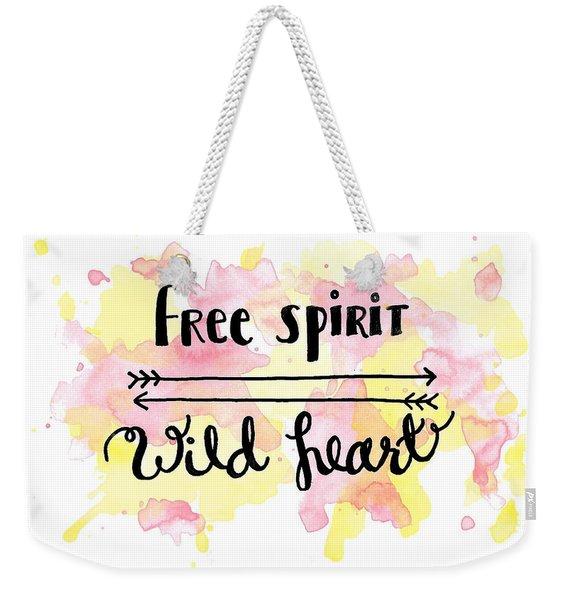 Free Spirit Wild Heart Watercolor Weekender Tote Bag