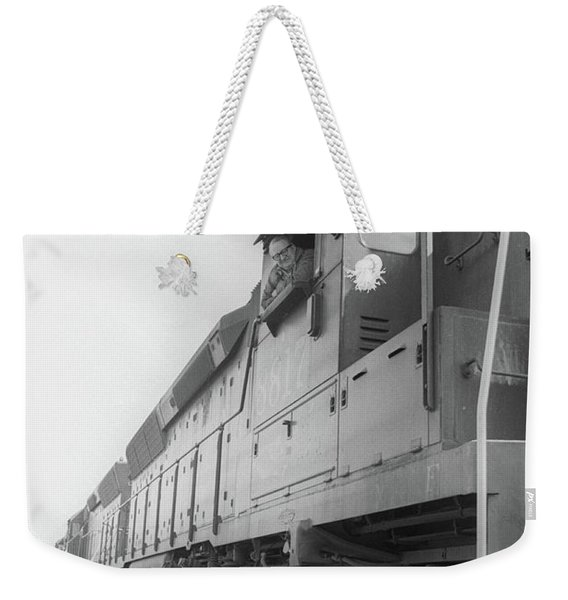 Weekender Tote Bag featuring the photograph Freight Train Parked On Siding. by Frank DiMarco
