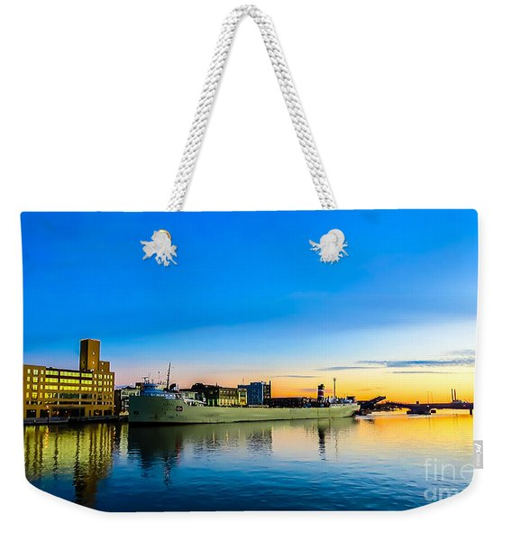 Freighter Alpena On The Fox River Channel In Green Bay Weekender Tote Bag
