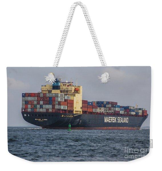 Freighter Headed Out To Sea Weekender Tote Bag