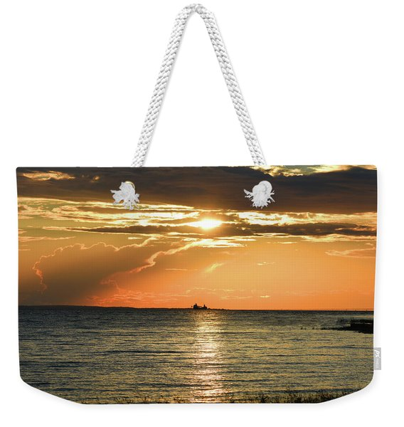 Freighter In The Sunset Weekender Tote Bag
