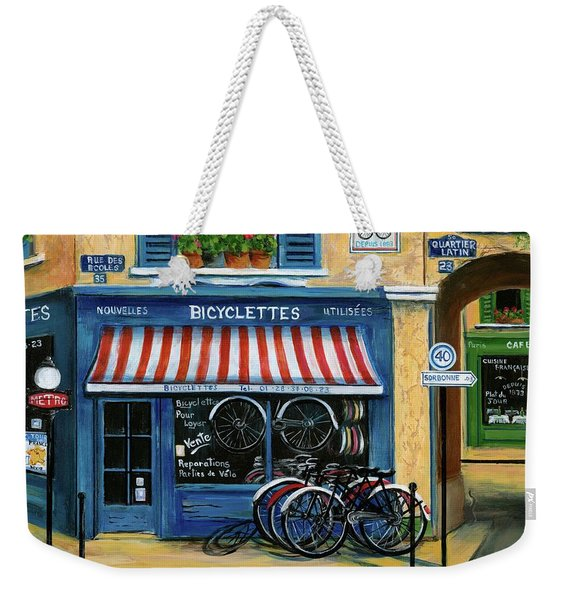 French Bicycle Shop Weekender Tote Bag