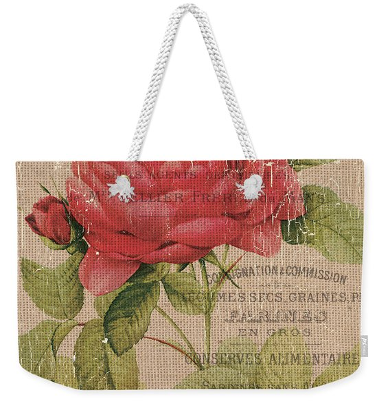 French Burlap Floral 1 Weekender Tote Bag