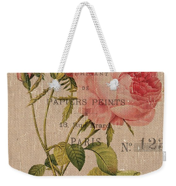 French Burlap Floral 2 Weekender Tote Bag
