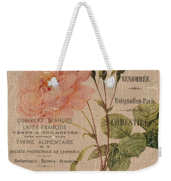 French Burlap Floral 4 Weekender Tote Bag
