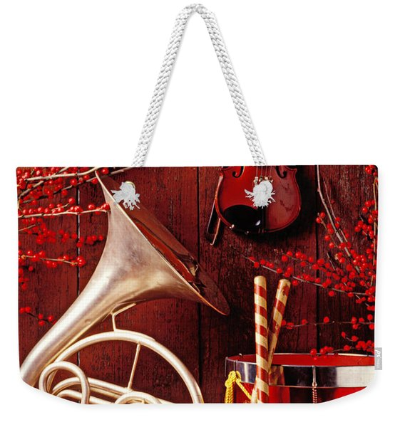 French Horn Christmas Still Life Weekender Tote Bag
