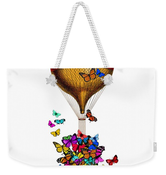 French Hot Air Balloon With Rainbow Butterflies Basket Weekender Tote Bag