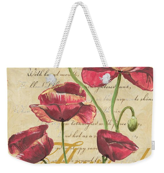 French Pink Poppies Weekender Tote Bag