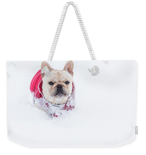 Frenchie In The Snow Weekender Tote Bag