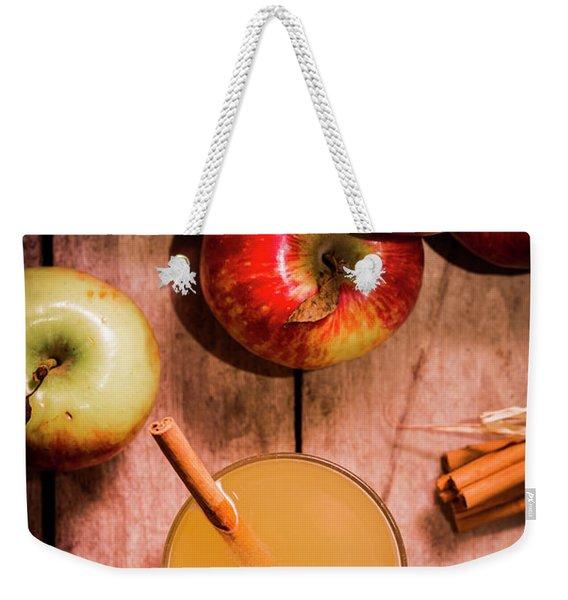 Fresh Apple Cider With Cinnamon Sticks And Apples Weekender Tote Bag