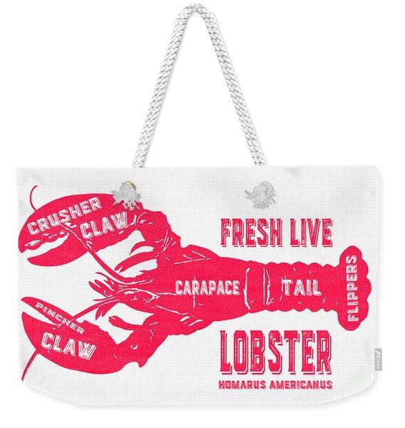 Fresh Live Lobster Vintage Sign Weekender Tote Bag