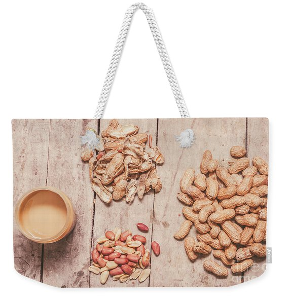 Fresh Peanuts, Shells, Raw Nuts And Peanut Butter Weekender Tote Bag