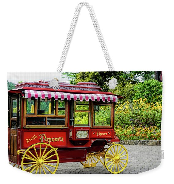 Weekender Tote Bag featuring the photograph Fresh Popcorn At Butchart by Michael Hope