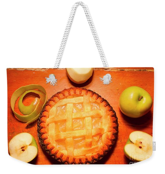 Freshly Baked Pie Surrounded By Apples On Table Weekender Tote Bag