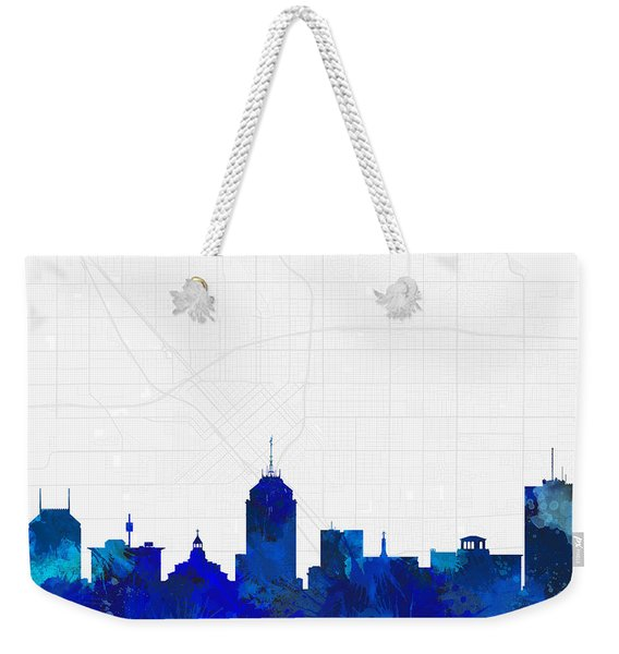 Fresno Cityscape And Streetmap Blue Skyline Weekender Tote Bag