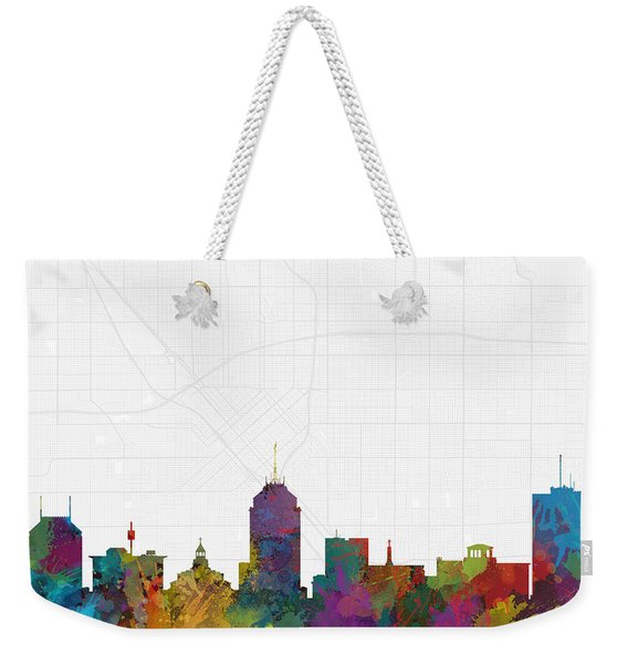 Fresno Cityscape And Streetmap Skyline Weekender Tote Bag