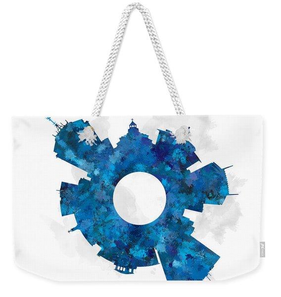 Fresno Small World Cityscape Skyline Blue Weekender Tote Bag