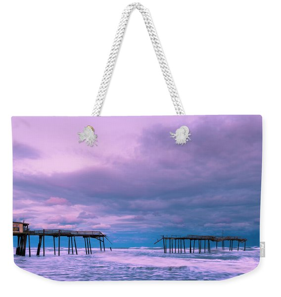 Weekender Tote Bag featuring the photograph Frisco Fishing Pier And Clouds Panorama by Ranjay Mitra