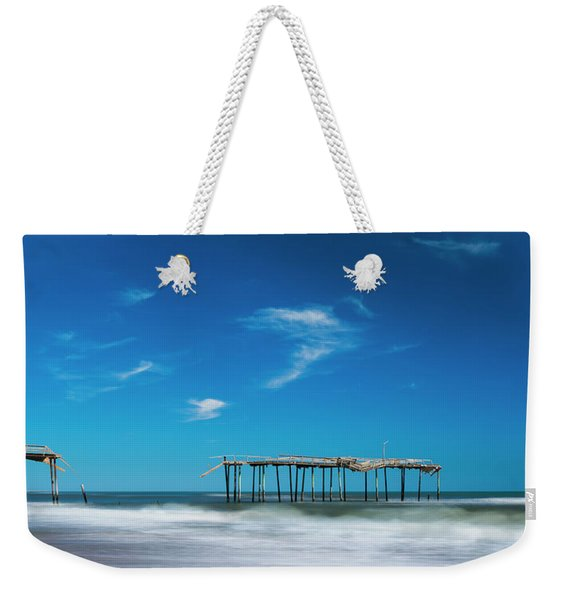 Weekender Tote Bag featuring the photograph Frisco Fishing Pier In North Carolina Panorama by Ranjay Mitra