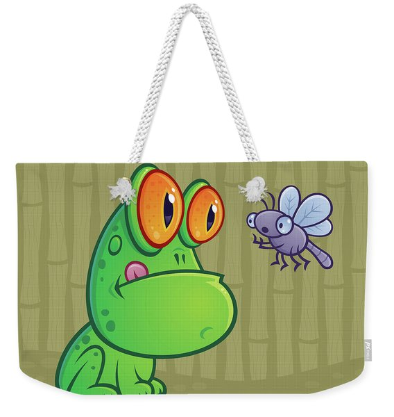 Frog And Dragonfly Weekender Tote Bag