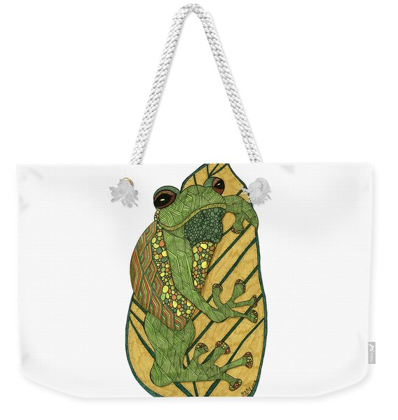 Weekender Tote Bag featuring the drawing Frog by Barbara McConoughey