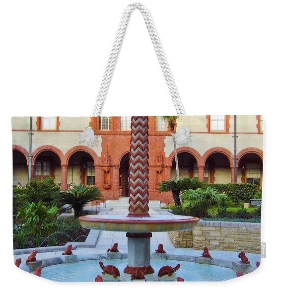 Frog Fountain Weekender Tote Bag