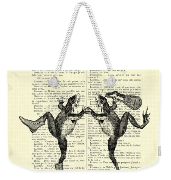 Frogs With Mandolin Music Print Vintage Animals Illustration Weekender Tote Bag