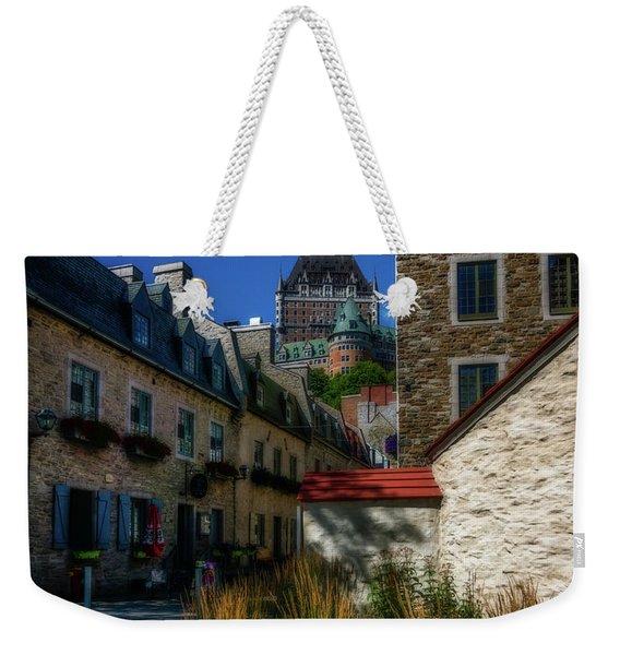 From Below Fairmont Le Chateau Frontenac Weekender Tote Bag