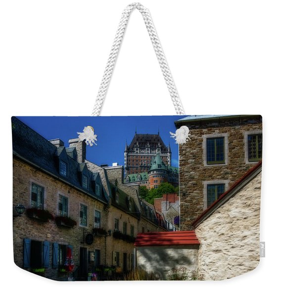 From Below Fairmont Le Chateau Frontenac Weekender Tote Bag