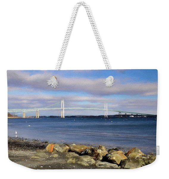 Weekender Tote Bag featuring the photograph From The Shores Of Jamestown by Nancy De Flon