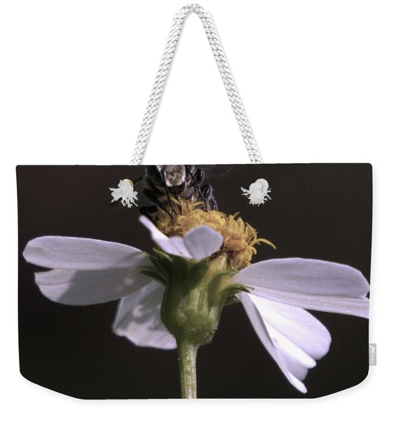Frontal View Of A Bee On A Flower Weekender Tote Bag