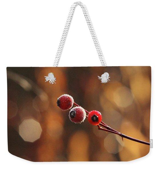 Frosted Rose Hips Weekender Tote Bag