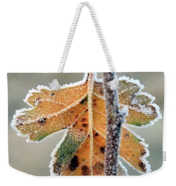 Frosty Leaf Weekender Tote Bag