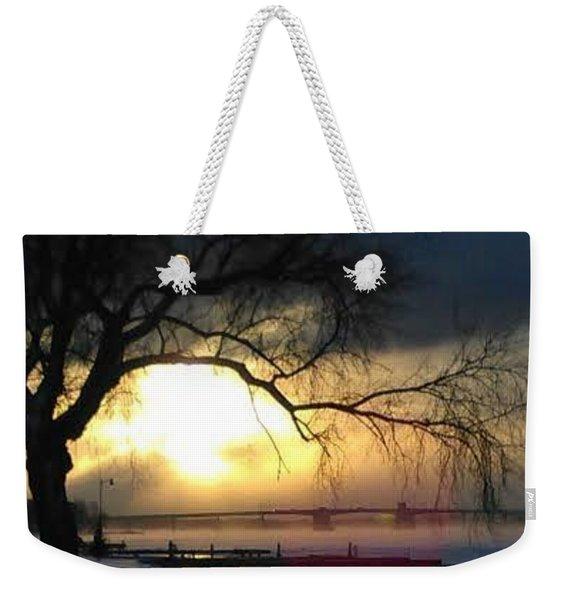 Frosty Morning Sturgeon Bay Harbor Weekender Tote Bag