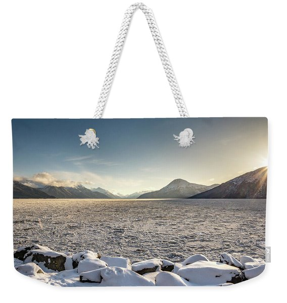 Frozen Fjord Sunrise Weekender Tote Bag