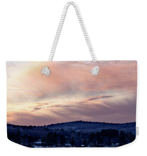Frozen Lake Sunset In Wilton Maine  -78096-78097 Weekender Tote Bag