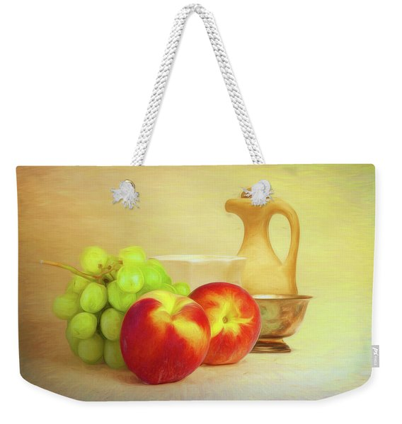 Fruit And Dishware Still Life Weekender Tote Bag
