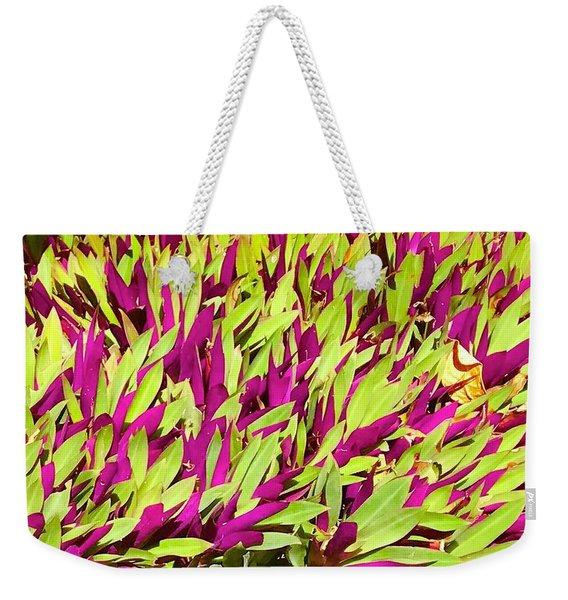 Fuchsia And Green -- Aloha Ground Cover Weekender Tote Bag