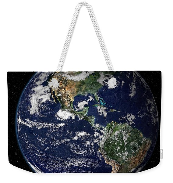 Full Earth Showing North And South Weekender Tote Bag