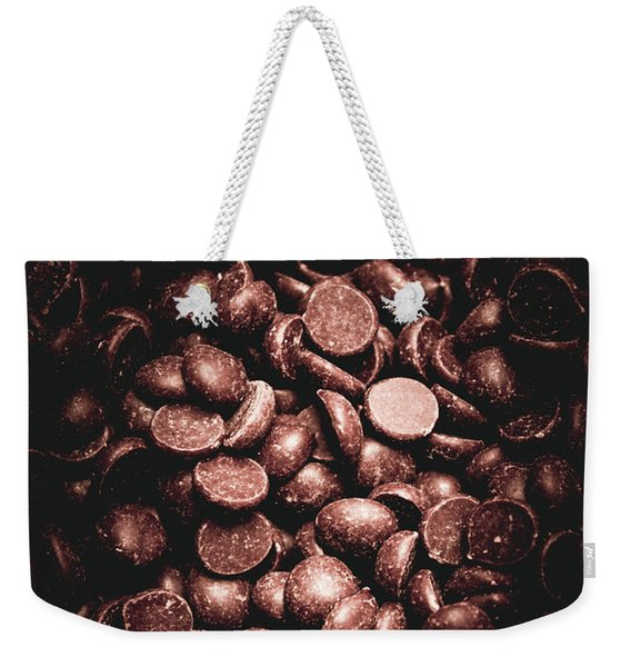 Full Frame Background Of Chocolate Chips Weekender Tote Bag