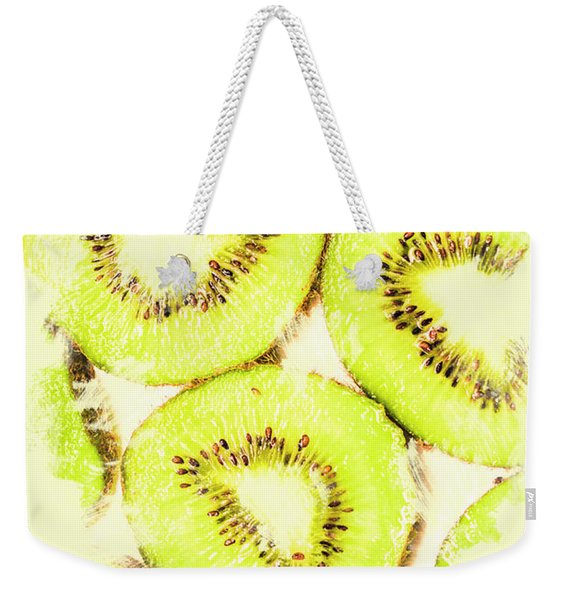 Full Frame Shot Of Fresh Kiwi Slices With Seeds Weekender Tote Bag