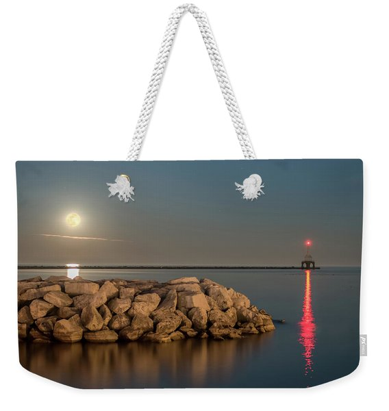 Full Moon In Port Square Weekender Tote Bag