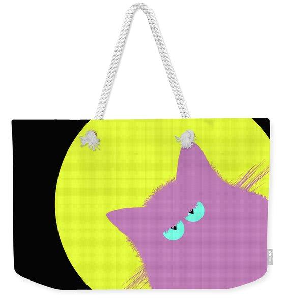 Full Moon Lilac Cat Weekender Tote Bag