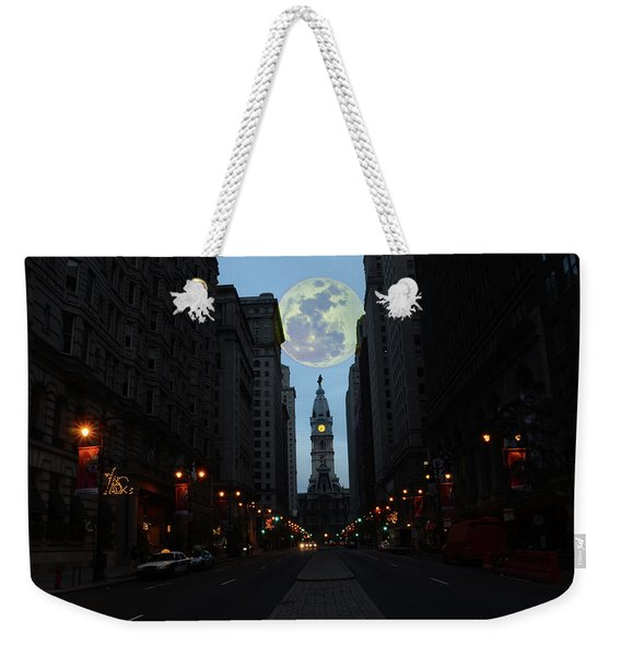 Full Moon Over Broad Street Weekender Tote Bag