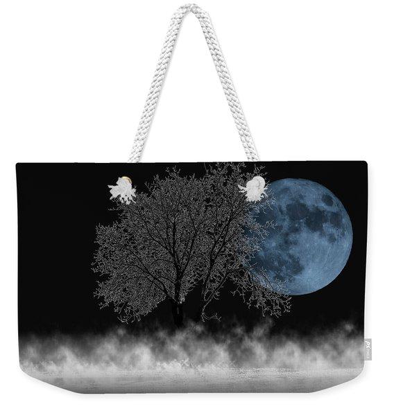 Full Moon Over Iced Tree Weekender Tote Bag