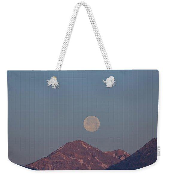 Full Moon Over The Tetons Weekender Tote Bag
