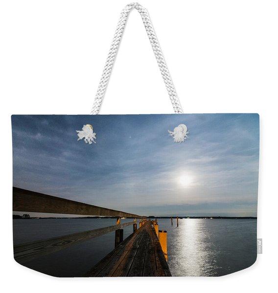 Full Moon Pier Weekender Tote Bag