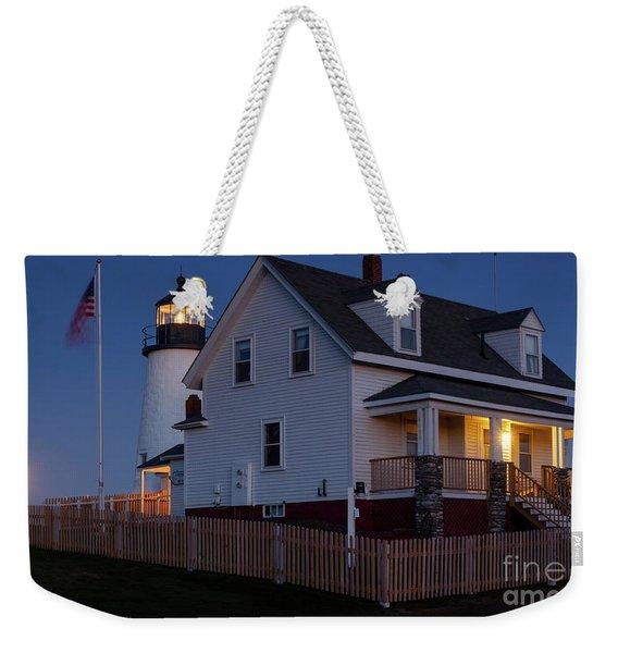 Full Moon Rise At Pemaquid Light, Bristol, Maine -150858 Weekender Tote Bag