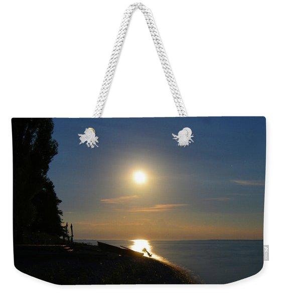 Full Moon Rising Out Of Lake Huron Weekender Tote Bag